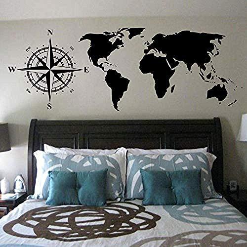 Brújula Mapa del mundo Etiqueta de la pared Pegatina Mural Habitación infantil para jóvenes Sala de estar Decoración Vinilo Decoración para el hogar Etiqueta en 160x57cm