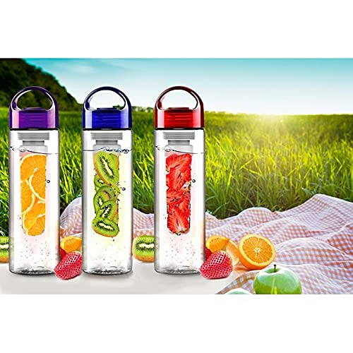 KARAN KING® Fruit Infuser Water Bottle Durable 750ml Lid, Leak Proof Design -Gym, Sports, Camping (RANDOM COLOUR)