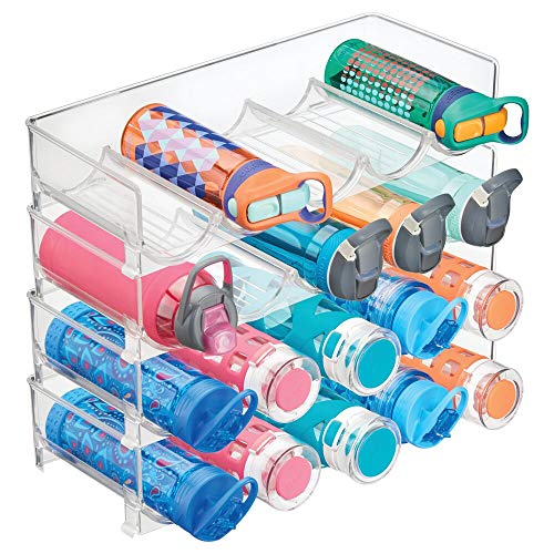 mDesign Plastic Free-Standing Water Bottle and Wine Rack Storage Organizer for Kitchen Countertops Table Top Pantry Fridge - Stackable - Holds 5 Bottles Each 4 Pack - Clear