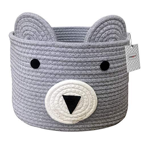 Inwagui Baumwolle Seil Korb Baby Aufbewahrungskörbe Bär Wäschekorb Faltbare Kinder Aufbewahrungsbox für Spielzeug Kinderzimmer Dekokorb - Grau