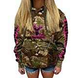 Pullover Zipper Hoodie Realtree APG Camo with Logo (XXL, Pink)
