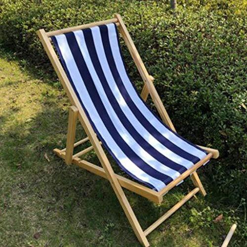 Liegestuhl Reclining Sonnenliege Holz Klappliege, Gartenliege Balkon Strandkorb Sonnenliege (Color : Blue White)