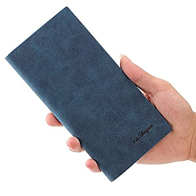 Mfeo Soft Scrub Leather Durable Slim Wallet Long Thin Bifold Multi-Card Wallet
