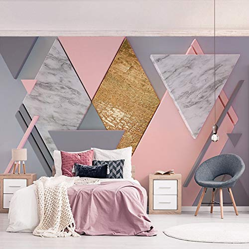 XZCWWH Modern Creative Pink Diamond Geometry Photo Murals Wallpaper Living Room Bedroom Romantic Art Wall Cloth Papel De Parede 3D Sala,90cm(W)×50cm(H)