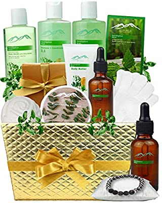 Pampering Gift Set Eucalyptus Mint Aromatherapy Spa Baskets for Men & Women. Bath & Body Spa Gift Baskets for Relaxation! Best Holiday Gift Baskets for Men & Women.