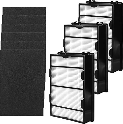 KEYJINIU 3 Pack HAPF600 True HEPA Replacement Filter B for Holmes HEPA Air Filter Include 6 Pack Carbon Filters- Replace HAPF600D, HAPF600D-U2
