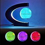 Globos para niños, bola del mundo flotante con luces LED de colores, forma de C, antigravedad, mapa del mundo giratorio, regalo para el hogar y la oficina