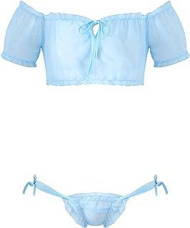 Choomomo Men's 2 Piece Lingerie Set Mesh Sheer Frilly Lace Ruffles Crop Top Panties Sissy Nightwear
