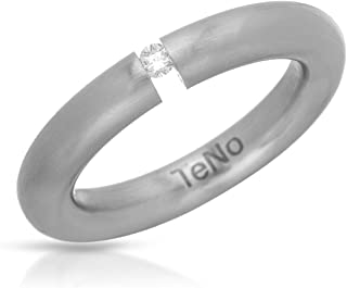 Teno Stainless Steel 0.04 CTW Color F, VS1 Diamond Band Ring.