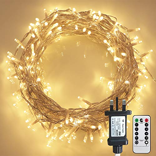[Remote Control] STARKER 20m 200 LED Warm White Fairy Lights Plug in, Outdoor Garden Lights Mains Powered Waterproof, 8 Modes String Lights for Bedroom Garden Festival Decoration (Timer, Dimmable)
