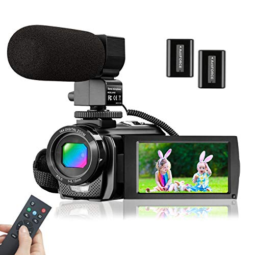 Video Camera Camcorder with Microphone, KENUO FHD 1080P 30FPS 24MP Vlogging Camera Recorder 3.0 Inch 270° Rotation Screen 16X Zoom Camcorder Webcam Recorder with Remote Control and 2 Batteries