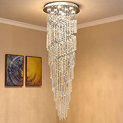 "Saint Mossi Modern K9 Crystal Spral Raindrop Chandelier Lighting Flush Mount LED Ceiling Light Fixture Pendant Lamp for Dining Room Bathroom Bedroom Livingroom 9 GU10 Bulbs Required H71"" W24"""