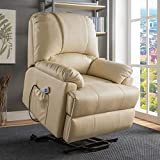 Electric Power Recliner Lift with Heat and Massage for Elderly Pregnancy, Breath Leather Ergonomic Reclining Sofa Chair Up to 330 LB with Side Pocket and Remote Controls, Beige