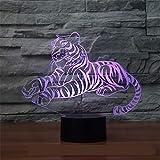 Lámpara 3d coloreada con un tigre lámpara LED para niños sensor compartimento de la batería venta de velocidad de luz vista general luz de noche LED