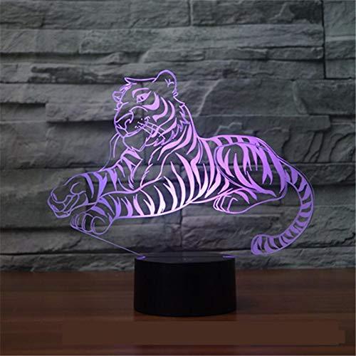 Tigre Animal 3D Lámpara 7 Colores Led Luz De Noche Para Niños Tácti