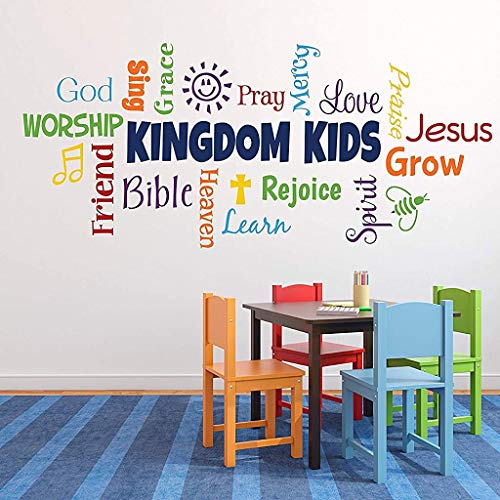Quote Wall Decals Word Collage Kingdom Kids Sunday School Church Nursery Fellowship Hall Inspirational 19 inch X 42 inch Home Wall Christmas Decoration for Living Room