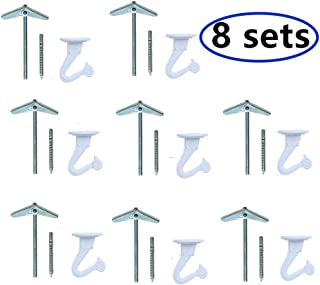 8 Sets Ceiling Hooks for Hanging Plants, White Heavy Duty Swag Hook with Hardware