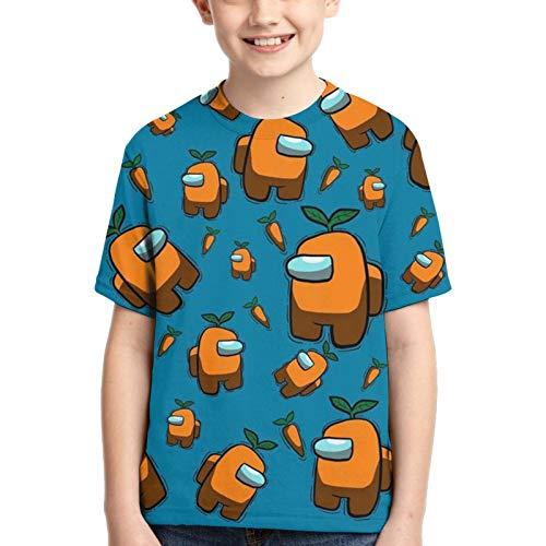 Among Us Camisetas Camiseta de Juego de Impresión 3D para Niños Camiseta de Manga Corta Suelta Informal para Niños y Niñas