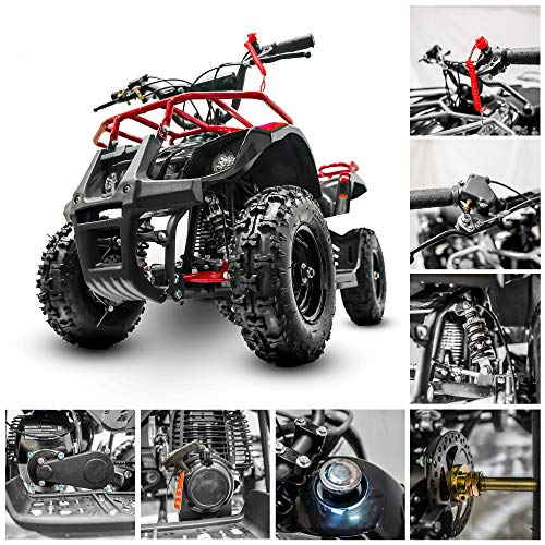 Fit Right Sonora Kids Wheeler 40cc 4 Stoke Gas Powered ATV Off Road Kids ATV Front and Rear Suspension and Disk Breaker Perfect Frist Quad for Kids. (red)