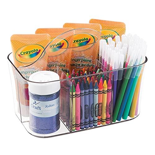 mDesign - Canasto organizador de suministros para artesanías, manualidades y costura - chico - Claro
