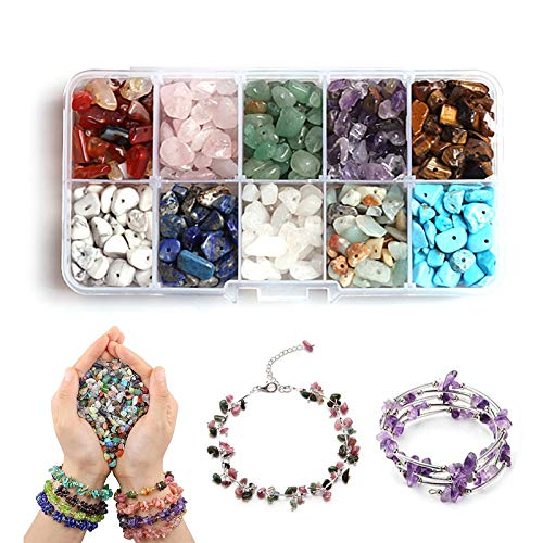 Hwtcjx Cuentas de piedras, piedras para bisuteria, piedras para collares, Kit de cuentas de piedra, Con caja de almacenamiento, 10 colores diferentes, para pulseras de bricolaje, joyería, manualidades