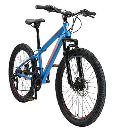 BIKESTAR Kinder Fahrrad Mountainbike 21 Gang Shimano, Scheibenbremse ab 8 Jahre   24 Zoll Kinderrad MTB   Blau