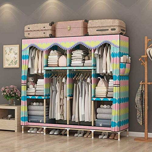 CXVBVNGHDF Fabric Wardrobes Portable Wardrobe Portable Closet Wardrobe with Hanging Rack and 6 Shelves for Bedroom, Living Room Quick Assembly,D