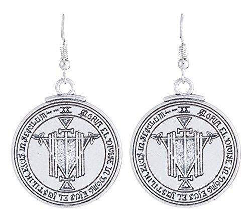 Talisman Solomon Seal Magical Wealth Wicca Amulet Pendientes de gota de joyería...