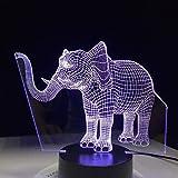 Lampada da tavolo a LED elefante fortunato Lampada da tavolo a LED 3D per camera da letto Lampada da letto Home Decor Art Decor Regalo per bambini