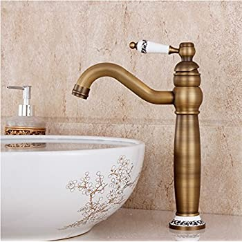 Hiendure® Brass Centerset One Hole Bathroom Sink Vessel Mixer Tall Taps, Antique Brass