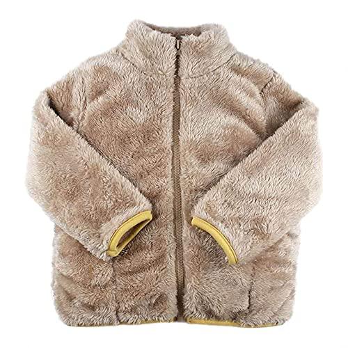 Chaqueta de forro polar para bebé, niño, niña, bonitos botones, abrigo grueso y fijo, ropa exterior cálida, caqui, 6- 7 Años