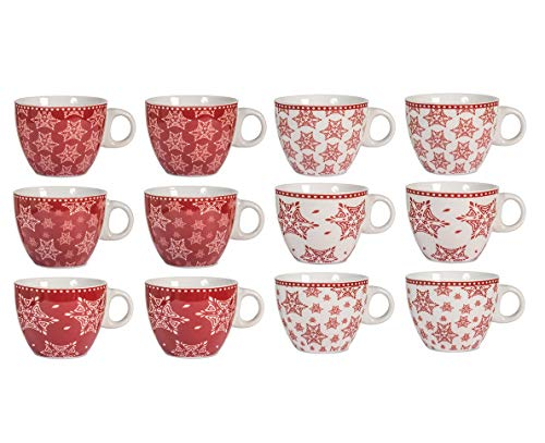 H & H Grace Lot de 12 tasses à thé, porcelaine, rouge/blanc, 230 ml