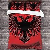 N \ A Juego de edredón de cama de la bandera de Albania, juego de cama de 3 piezas, funda de almohada de 86 x 70 pulgadas, talla única