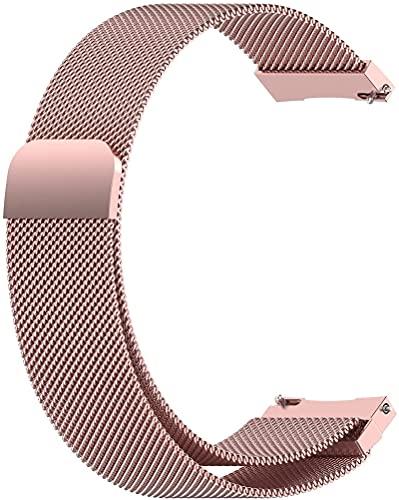 Xummy Correa de metal, malla de acero inoxidable con cierre magnético, 18 mm, color rosa