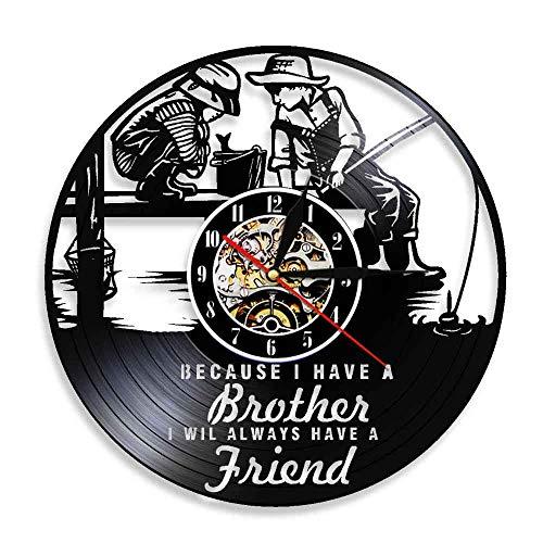 Enofvd Amistad Cotizaciones Hermanos Relojes de Pared Hermandad Disco de Vinilo Reloj de Pared Niños Pesca Jardín de Infantes Decoración Reloj de Pared Reloj de Pared 12 Pulgadas