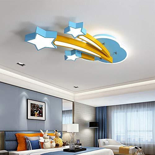 HIL kinderkamer plafondlamp, plafondlamp, acryl lampenkap Iron Cloud Stars Blue Energy Saving Eye binnenruimte woonkamer hal balkon werkkamer lamp 66 * 45 * 6CM Whitelight