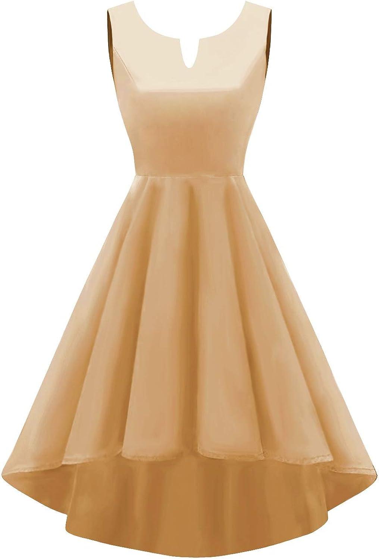 SUNFURA Women's High Low V Neck Sleeveless Prom Evening Homecoming Dress