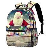Mochila de Papá Noel volando en su trineo en cielo estrellado nubes escolares, mochila de viaje casual para mujeres, adolescentes, niñas y niños