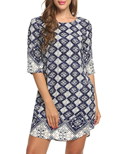 ACEVOG Damen Tunika Bohemian Vintage Strandkleid Bedrucktes Minikleid Ethnische Art 3/4 Ärmel Rundhals mit Tasche