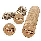 Juland 100 unidades de etiquetas de regalo vintage de papel de estraza hecho a mano con amor boda colgante corazón con cuerda de yute para manualidades, celebraciones festivas, banquetes, redondas.