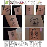 ASMFUOY 45 Sheets Simple Kawaii Temporary Tattoos Stickers Waterproof Body Art Temporary Tattoos for Men Women Kids