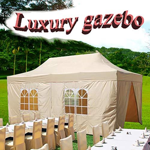 Zhyaj 3 X 6M Aufklappbarer Pavillon | Beige | Vollständig Wasserdicht | Inklusive Seitenwände | Rechteckiges Vordach Und Schutzdach Für Terrasse, Hinterhof, Garten, Veranstaltung, Party
