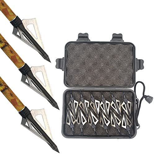 3 Fixed Blade Archery Hunting Broadheads 100 Grain with Case Arrow Head Screw-in Tips for Compound Bow & Crossbow 12 Pack