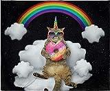INTIMO Galactic Rainbow Uni-Kitty Blanket Super Soft Silk Touch Plush Fleece Throw 50' X 60'