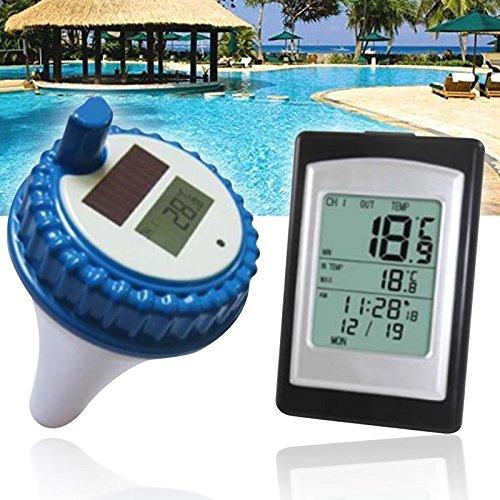lzndeal Wireless Solar Power Schwimmbecken Thermometer Digital Schwimmbecken SPA Schwimmdock Thermometer