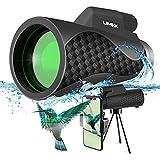Starscope - Telescopio monocular 12x50 HD con soporte para smartphone y trípode, impermeable, con visión nocturna para animales salvajes, conciertos, camping, paisajes
