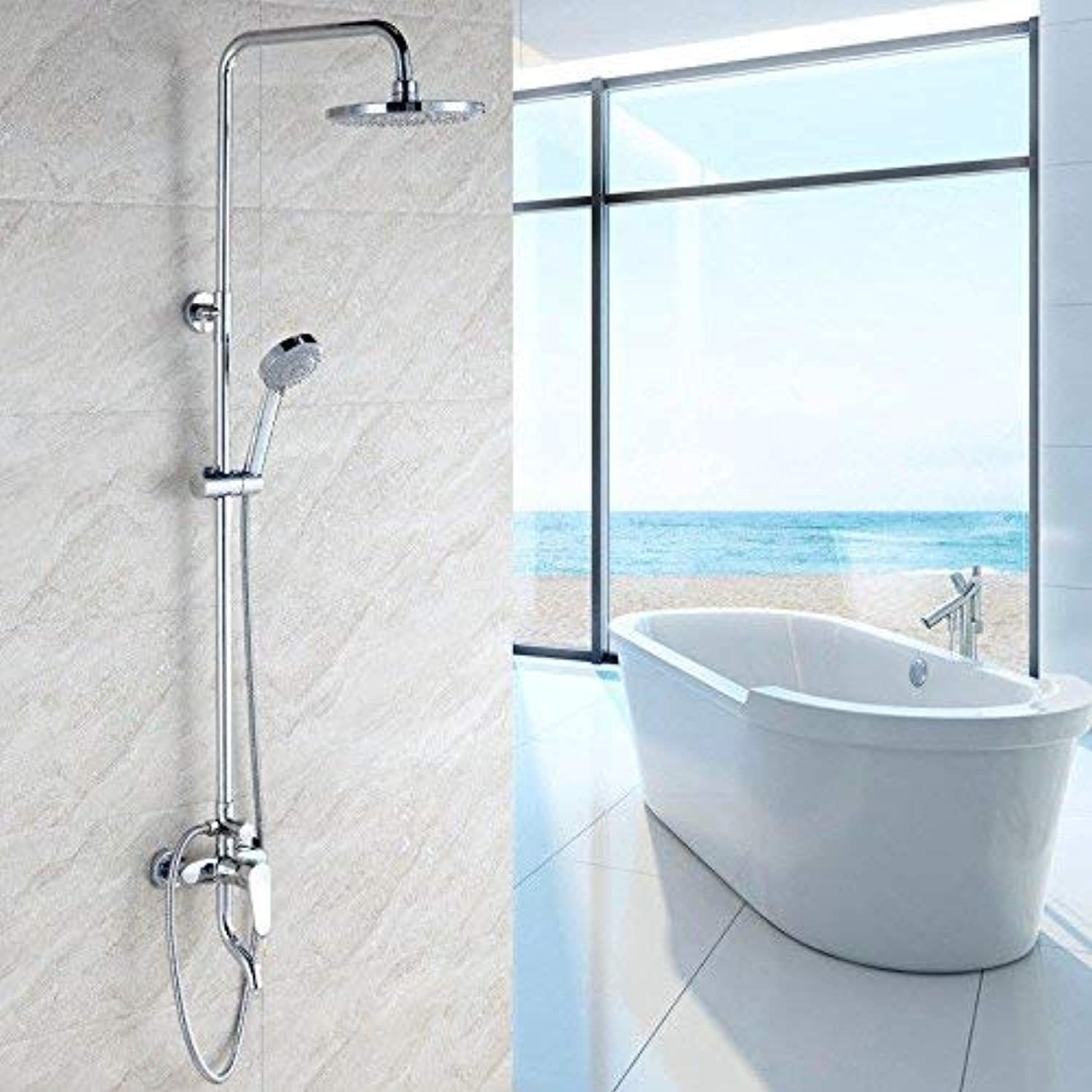 Ywqwdae Taps Kitchen Taps Basin Faucets Cold and Hot Water Mixer Bathroom Mixer Basin Mixer Tap Turbo Shower Set Lift Plating Shower for Kitchen Or Bathroom Taps