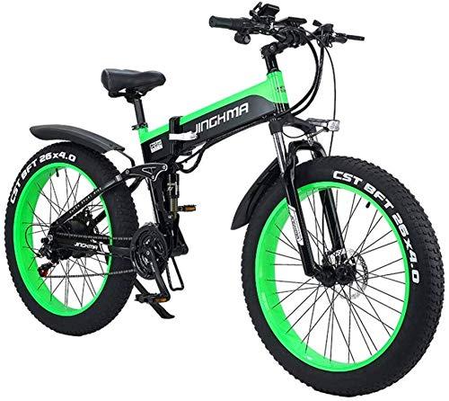 Bicicletas eléctricas para adultos Bicicletas eléctricas rápidas para adultos Bicicleta eléctrica de 1000 W, Bicicleta de montaña plegable, Neumático gordo 48V 12.8AH Bicicleta eléctrica para hombres
