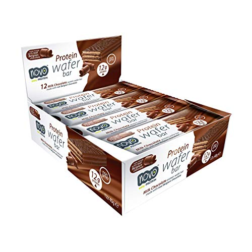 Novo Nutrition | Protein Wafer Bar | Milk Chocolate Flavour | Healthy Crispy Wafer Snack with High Protein and Real Belgian Milk Chocolate | Suitable for Vegetarians | Pack of 12 x 40g
