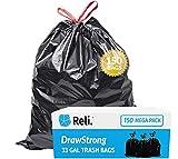 Reli. 33 Gallon Trash Bags Drawstring | 150 Count | Black | 33 Gallon Garbage Bags Heavy Duty | Large 33 Gal | Multipurpose
